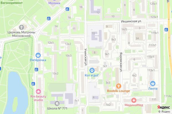Ремонт телевизоров Улица Учинская на яндекс карте