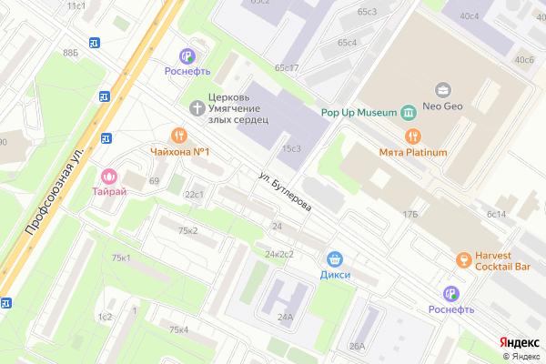Ремонт телевизоров Улица Бутлерова на яндекс карте