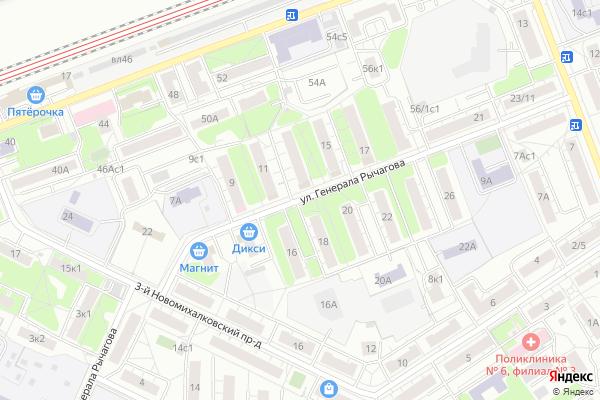 Ремонт телевизоров Улица Генерала Рычагова на яндекс карте
