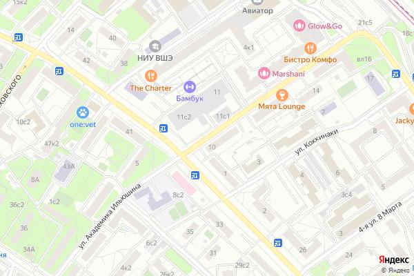 Ремонт телевизоров Улица Академика Ильюшина на яндекс карте