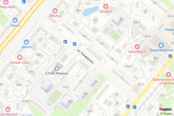 Ремонт телевизоров Улица Панферова на яндекс карте