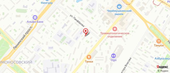 Карта расположения пункта доставки Москва Панфёрова в городе Москва