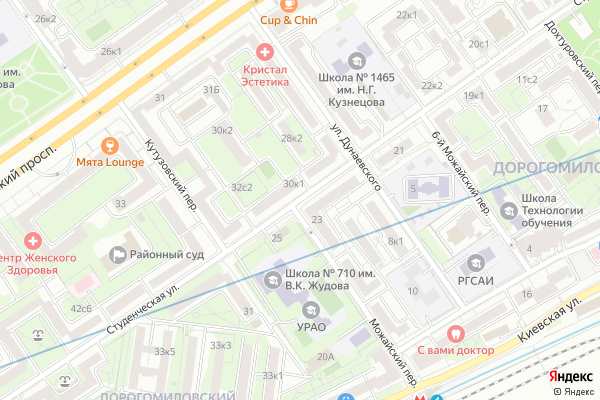 Ремонт телевизоров Улица Студенческая на яндекс карте