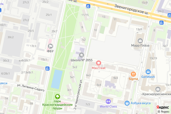 Ремонт телевизоров Улица 2 я Черногрязская на яндекс карте