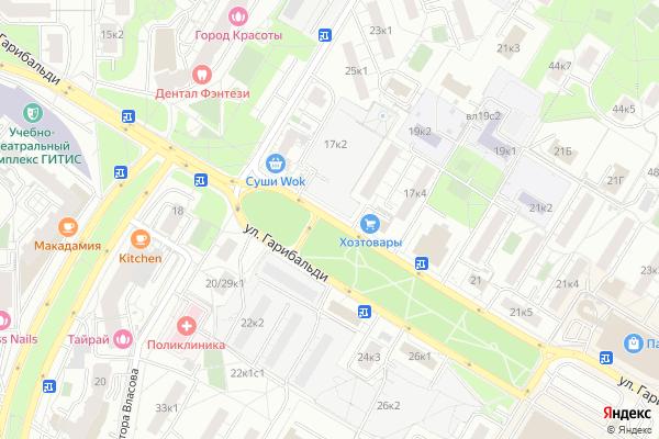Ремонт телевизоров Улица Гарибальди на яндекс карте