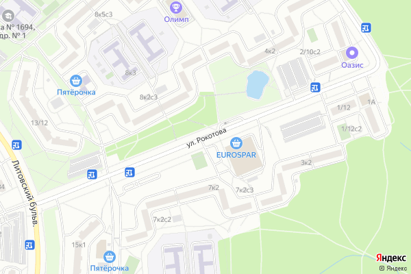 Ремонт телевизоров Улица Рокотова на яндекс карте
