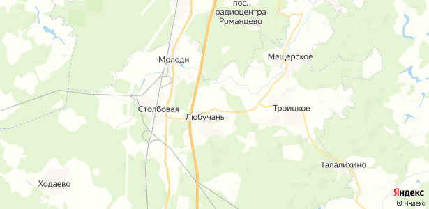 Любучаны на карте