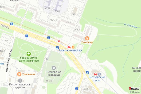 Ремонт телевизоров Метро Новоясеневская на яндекс карте