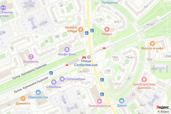 Ремонт телевизоров Метро Улица Скобелевская на яндекс карте