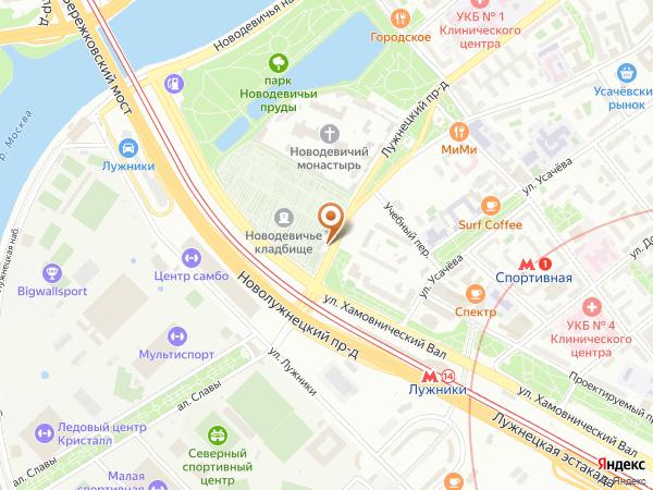 Остановка Новодевичье кладб. в Москве