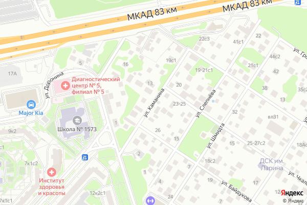 Ремонт телевизоров Улица Каманина на яндекс карте
