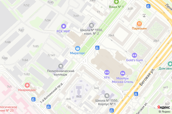 Ремонт телевизоров 1 й Боткинский проезд на яндекс карте