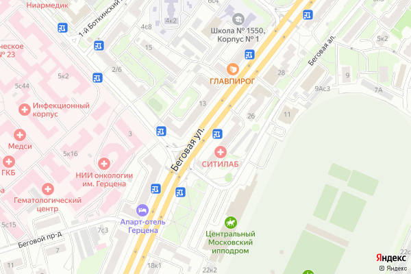 Ремонт телевизоров Улица Беговая на яндекс карте