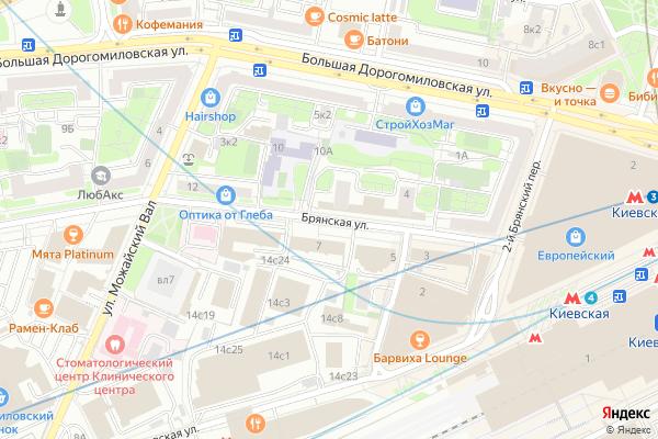 Ремонт телевизоров Улица Брянская на яндекс карте