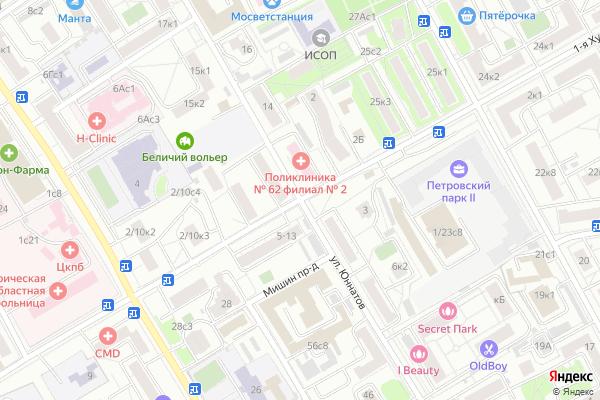 Ремонт телевизоров Улица Юннатов на яндекс карте