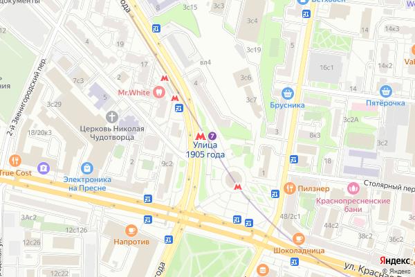 Ремонт телевизоров Метро Улица 1905 года на яндекс карте