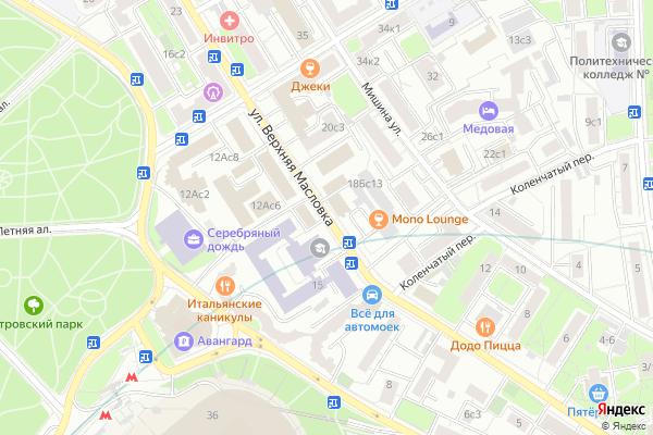 Ремонт телевизоров Улица Верхняя Масловка на яндекс карте