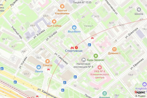 Ремонт телевизоров Метро Спортивная на яндекс карте
