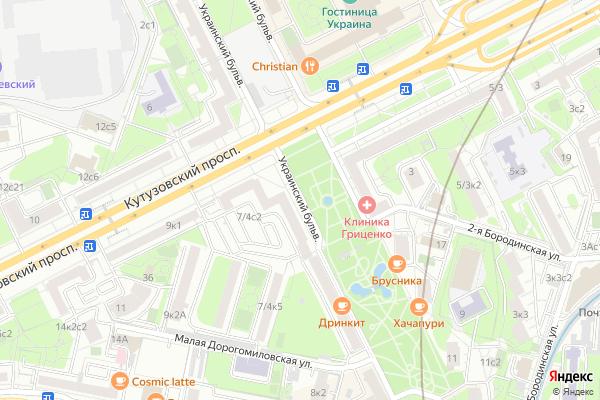 Ремонт телевизоров Украинский бульвар на яндекс карте