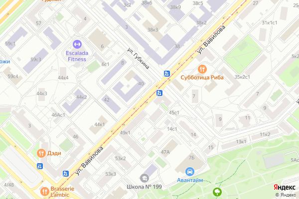 Ремонт телевизоров Улица Вавилова на яндекс карте