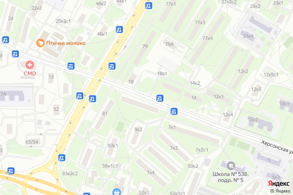 Ремонт телевизоров Улица Херсонская на яндекс карте