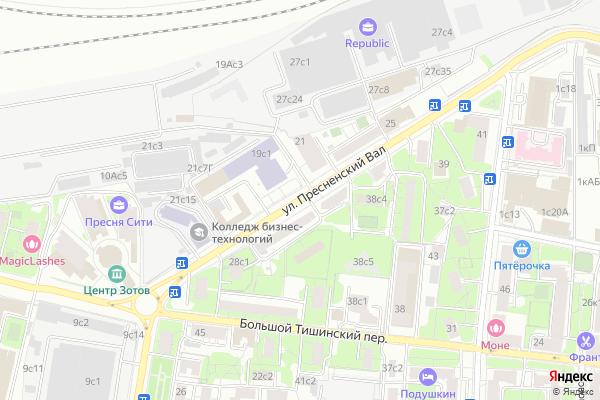 Ремонт телевизоров Улица Пресненский Вал на яндекс карте