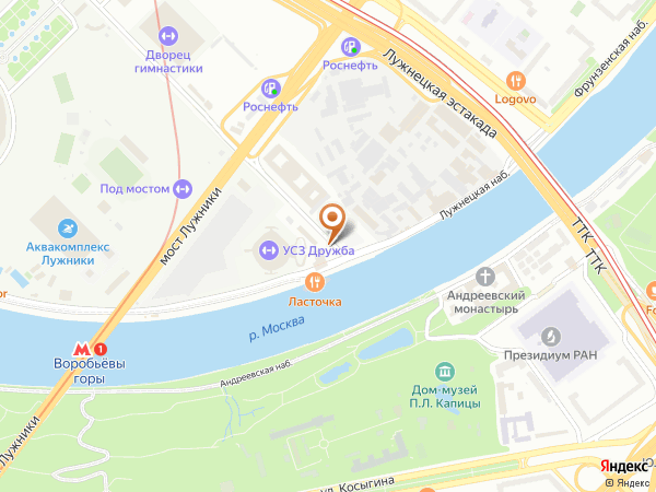Остановка Спортзал Дружба в Москве