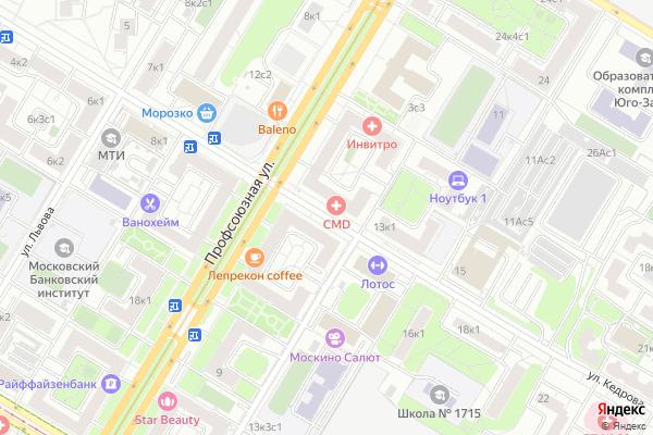 Ремонт телевизоров Улица Кедрова на яндекс карте