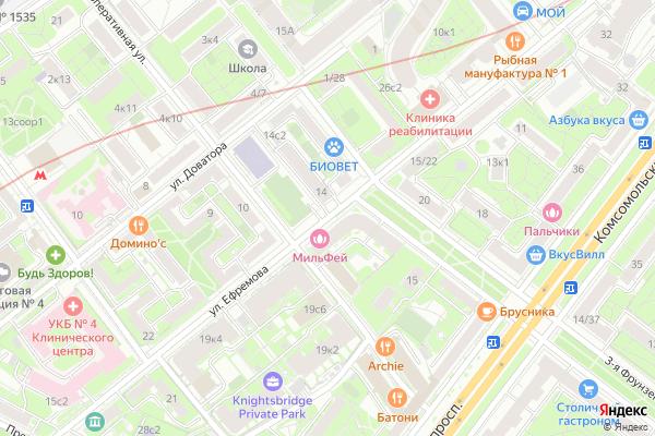 Ремонт телевизоров Улица Ефремова на яндекс карте