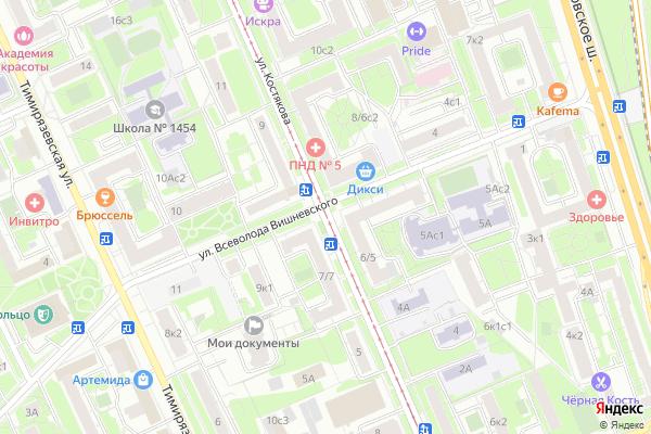 Ремонт телевизоров Улица Костякова на яндекс карте