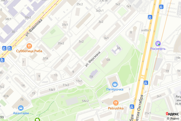 Ремонт телевизоров Улица Ферсмана на яндекс карте