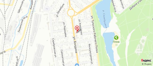 Карта расположения пункта доставки Тула Болдина в городе Тула