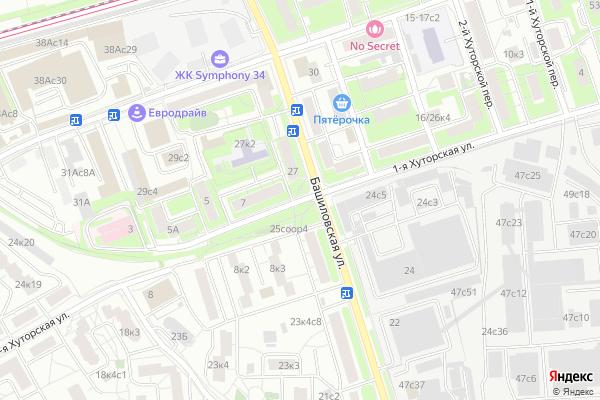 Ремонт телевизоров Улица 1 я Хуторская на яндекс карте