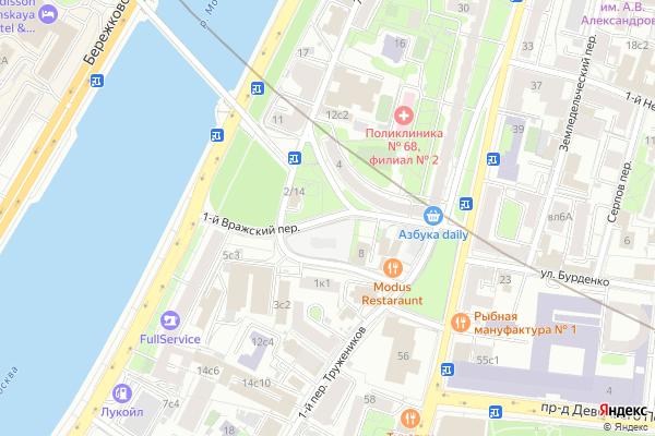 Ремонт телевизоров 1 й Вражский переулок на яндекс карте