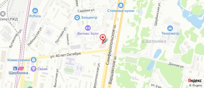 Карта расположения пункта доставки Щербинка 40 лет Октября в городе Щербинка