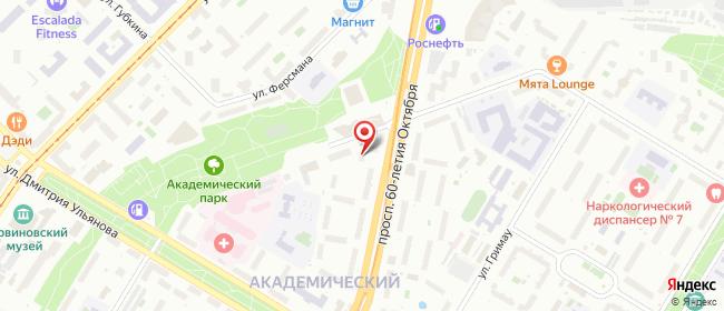 Карта расположения пункта доставки Москва 60-летия Октября в городе Москва
