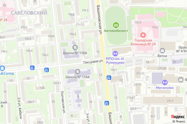 Ремонт телевизоров Улица Писцовая на яндекс карте