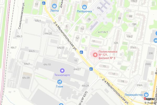 Ремонт телевизоров Улица 2 я Мелитопольская на яндекс карте