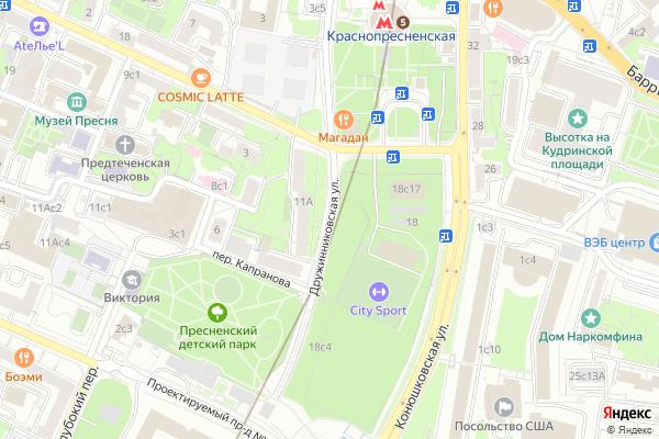 Ремонт телевизоров Улица Дружинниковская на яндекс карте