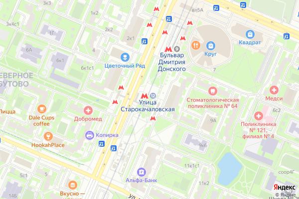 Ремонт телевизоров Метро Улица Старокачаловская на яндекс карте