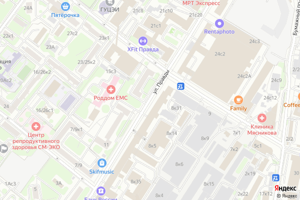 Ремонт телевизоров Улица Правды на яндекс карте