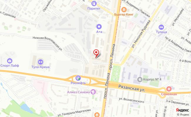 Карта расположения пункта доставки Тула Ленина в городе Тула