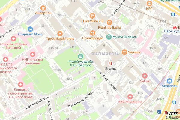 Ремонт телевизоров Улица Льва Толстого на яндекс карте