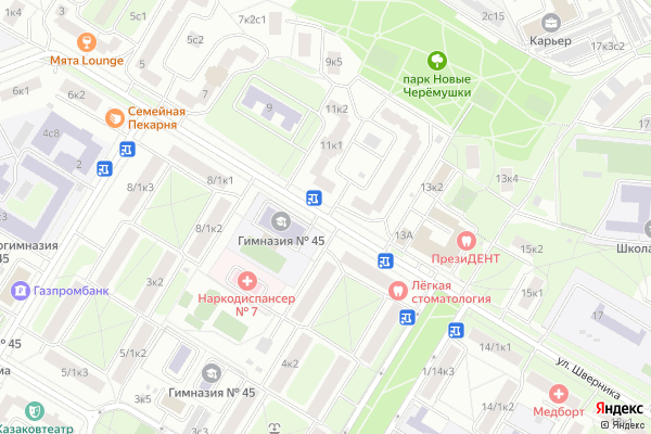 Ремонт телевизоров Улица Шверника на яндекс карте