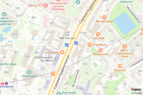 Ремонт телевизоров Улица Садовая Кудринская на яндекс карте