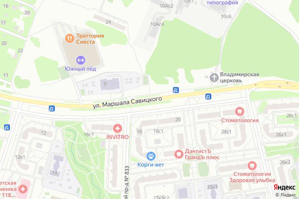 Ремонт телевизоров Улица Маршала Савицкого на яндекс карте