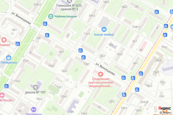 Ремонт телевизоров Улица Винокурова на яндекс карте