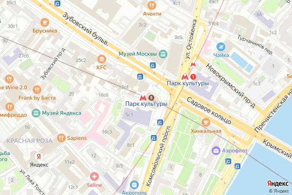 Ремонт телевизоров Метро Парк культуры на яндекс карте
