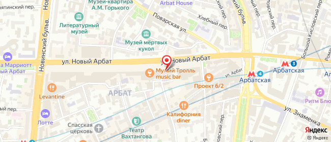 Карта расположения пункта доставки Москва Новый Арбат в городе Москва