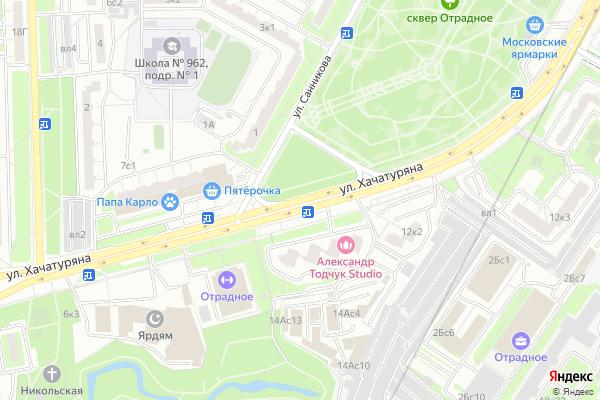 Ремонт телевизоров Улица Хачатуряна на яндекс карте